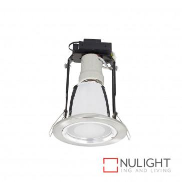 Uni 8 Fixed Cfl Downlight With Glass Cover Inc 15W E27 Cfl Globe - Br Steel BRI