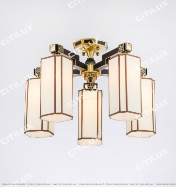 Chinese Copper Fabric Ceiling Lamp Citilux