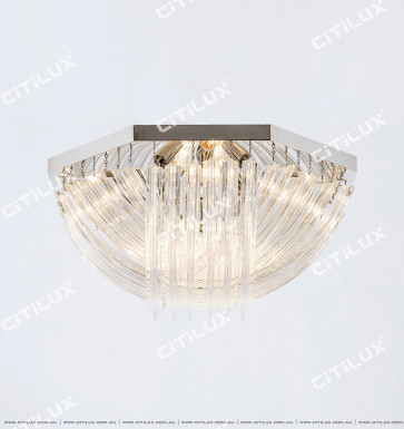 Modern Transparent Curved Glass Ceiling Lamp Chrome Citilux