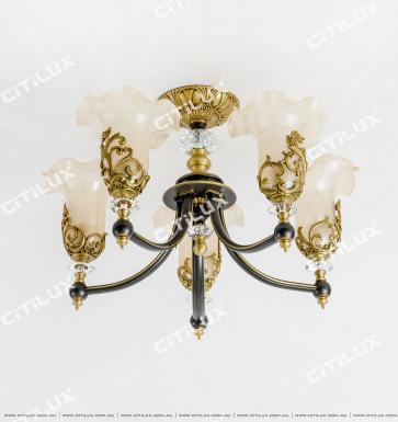 Copper Noble European Glass Lace Ceiling Lamp Citilux
