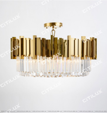 Stainless Steel Titanium & Crystal Non-Standard Arrangement Large Ceiling Lamp Citilux