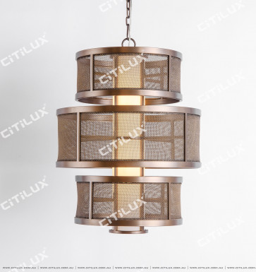 New Chinese Cylinder Net Brushed Bronze Chandelier Citilux