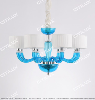 Simple European-Style Lake Blue Primary Color Glass Small Chandelier Citilux
