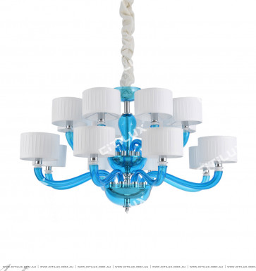 Simple European-Style Lake Blue Primary Color Glass Medium Chandelier Citilux