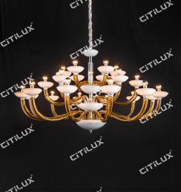 Simple European Glass Primary Color Glass White Jade Cover Chandelier Large Citilux