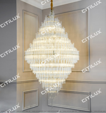 Modern Minimalist Non-Specified Glass Tube Chandelier Citilux