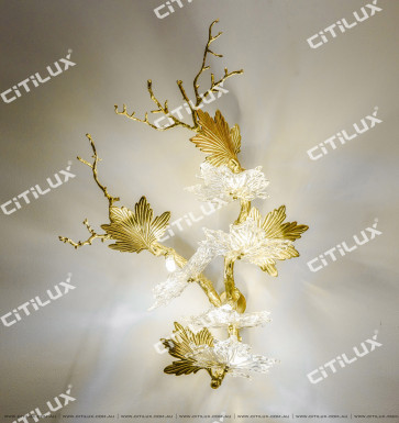 Copper Art Leaf-Shaped Wall Lamp Citilux