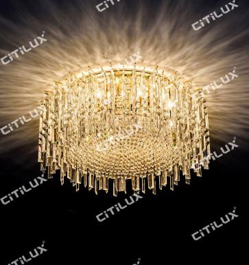 Golden Crystal Ceiling Light Citilux