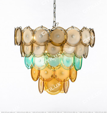 Modern Light Luxury Colored Jade Glass Round Chandelier Small Citilux