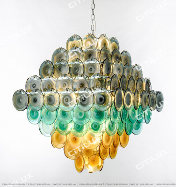 Modern Light Luxury Colored Jade Glass Square Chandelier Large Citilux