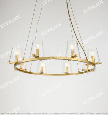 Simple American Copper Glass Chandelier Citilux