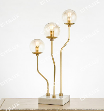 Full Copper Simple Head Glass Ball Three light table lamp Citilux