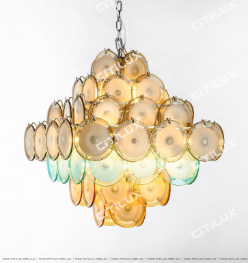 Modern Light Luxury Colored Jade Glass Square Chandelier Citilux