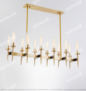 Simple Double Row Glass Cover Long Dining Chandelier Citilux