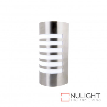 Lancet Curved Wall Light With Grill Stainless Steel BRI