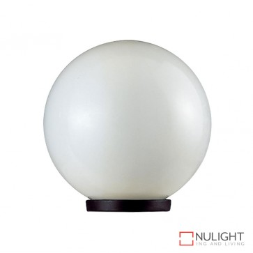 Vl 1010202 200Mm Sphere 240V Polycarbonate Garden Light Black Base And Opal Sphere E27 DOM