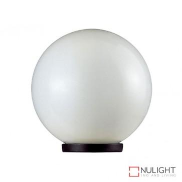 Vl 1010402 400Mm Sphere 240V Polycarbonate Garden Light Black Base And Opal Sphere E27 DOM