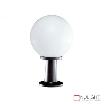 Vl 119251 250Mm Sphere And Pillar Mount 240V Polycarbonate Garden Light Black Base And Opal Sphere E27 DOM