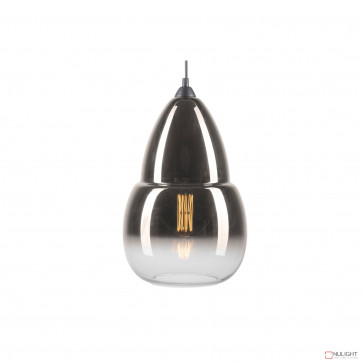 Giorgio Teardrop Glass Pendant-Ombre Clear And Smoke BRI