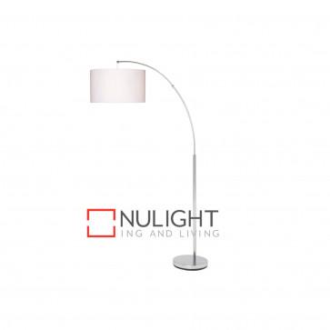 Noah 1700Mm Arch Floor Lamp - Chrome With White Shade BRI