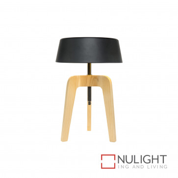 Jacobssen Timber And Metal Table Lamp - Walnut And Black BRI
