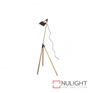 Kyoto Tripod Timber And Metal Floor Lamp - Natural And Black BRI