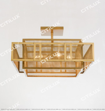 Chinese Stainless Steel Mesh Square Ceiling Lamp Small Citilux