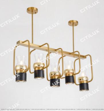 Black Plus Gold Bar Chandelier Citilux
