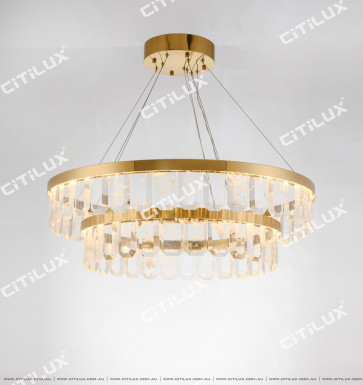 Large Tier Of Circular Natural Crystal Chandelier Citilux