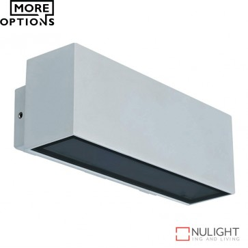 Block Wide 240V 12W Two Way Led Wall Light Silver Finish Led DOM