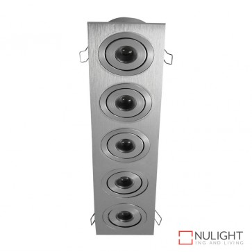 Power Puk 09 Rectangular 5 X 3W 700Ma Led Cabinet Light Brushed Aluminium Frame Warm White Led DOM