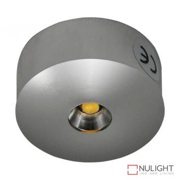 Power Puk 10 Round 1 X 3W 700Ma Led Light Brushed Aluminium Finish White Led DOM