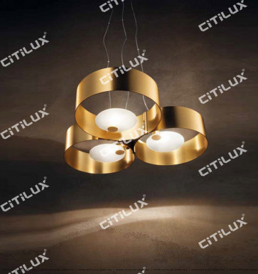 Lajin Zirconium Gold Ring Three-Head Simple Chandelier Citilux