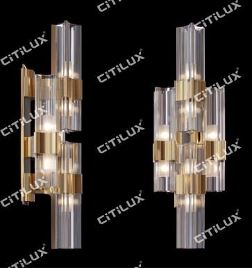 Light Luxury Metal Four-Corner Glass Wall Lamp Citilux