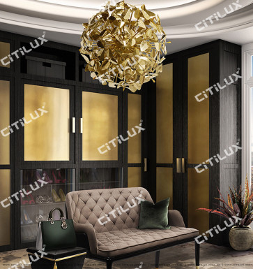 All-Copper Leaf Spherical Chandelier Citilux