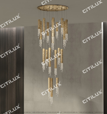 Metal Texture Crystallized Multi-Head Hollow Chandelier Citilux