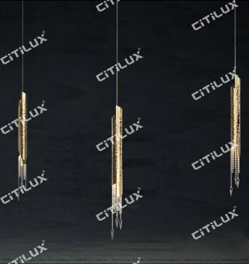 Metal Texture Crystal Single Head Pendant Lamp Citilux