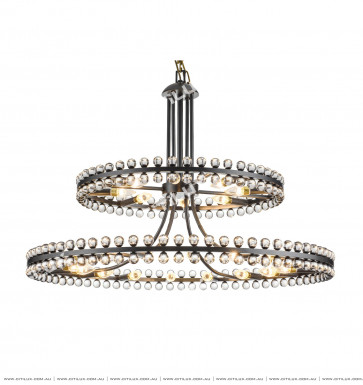 Modern American Transparent Bead Ring Double Chandelier Sub Blac Citilux