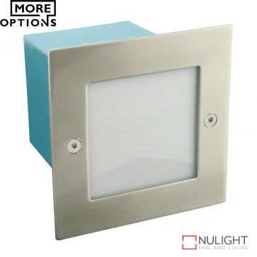 Led 844 Maxi Square 240V 1.5W Recessed Led Steplight Stainless Steel Fascia Led DOM