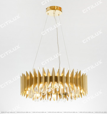 Modern Metal Hundred Fold Page Crystal Ring Chandelier Small Citilux