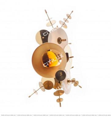 Metal Glass Disc Combination Wall Light Amber Citilux