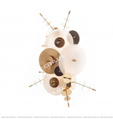 Metal Glass Disc Combination Wall Lamp Copper Color System Citilux