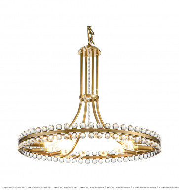 Kmodern American Transparent Round Bead Ring Chandelier Copper Citilux
