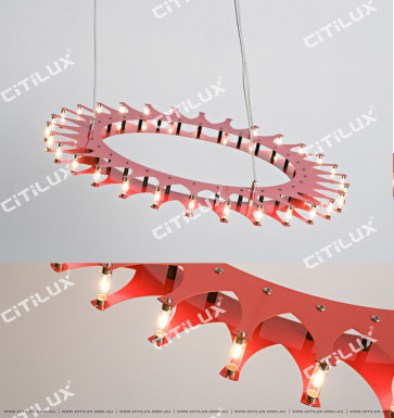 Modern Nordic Gear Disc Chandelier Red Citilux