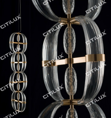 Modern Transparent Ring Glass Staircase Chandelier Citilux