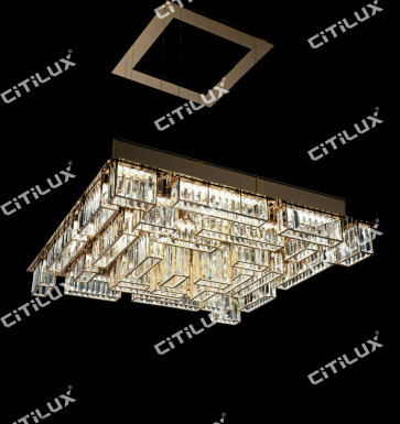 Modern Crystal Combination Stainless Steel Square Chandelier Citilux