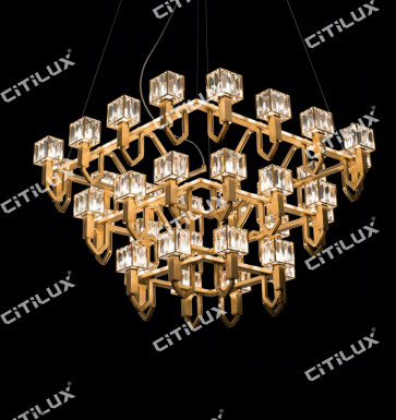 Simple Stainless Steel Crystal Square Cover Three-Tier Large Chandelier Citilux