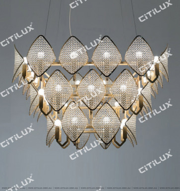 Modern Diamond-Shaped Crystal Ball Long Three-Tier Chandelier Citilux