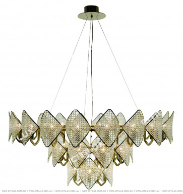 Modern Diamond-Shaped Crystal Ball Three-Tier Round Chandelier Citilux