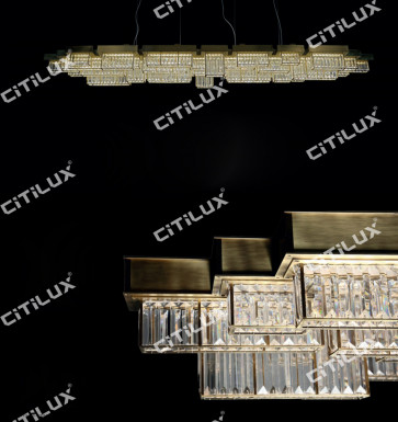 Modern Crystal Combination Stainless Steel Dining Chandelier Long Section Citilux